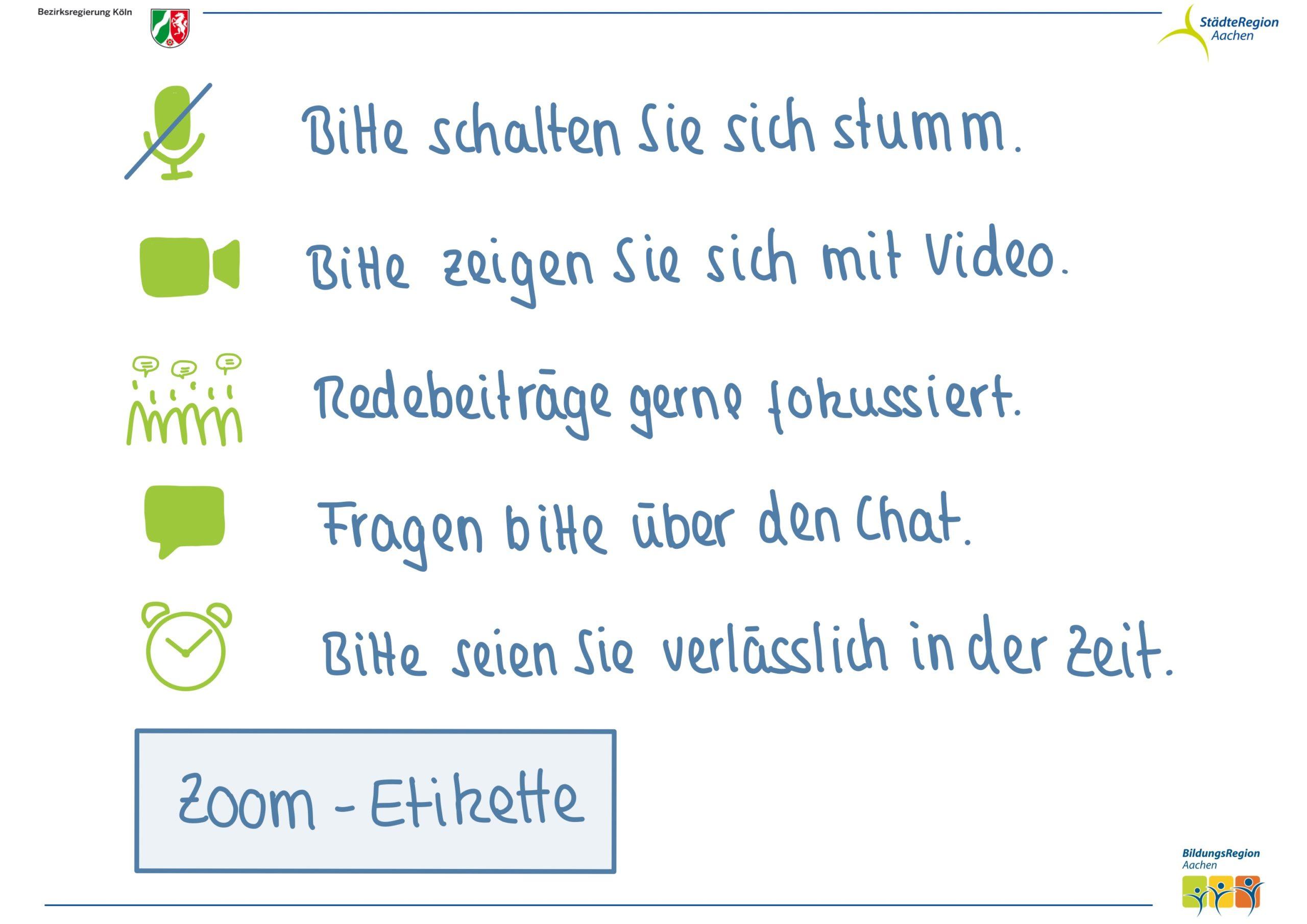 Zoom-Etikette Visualisierungsbeispiel